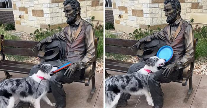 Photo of PRESMEŠAN JE: Ovaj preslatki psić je POŽELEO DA SE DOBACUJE sa statuom (VIDEO)
